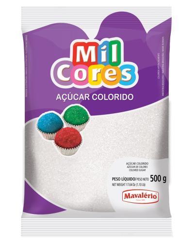 Açúcar Colorido Branco Mil Cores Mavalerio 500g