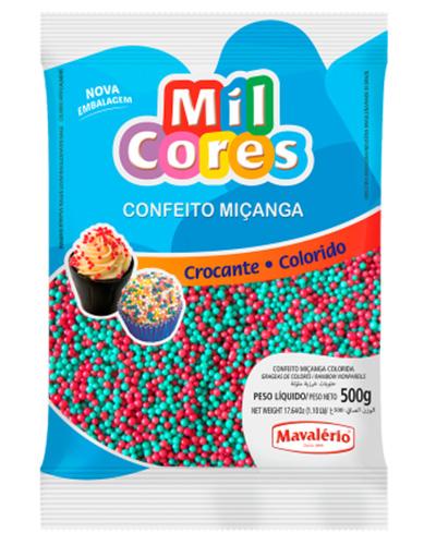 Confeito Miçanga N.0 Verde/Vermelho Mil Cores Mavalerio 500g