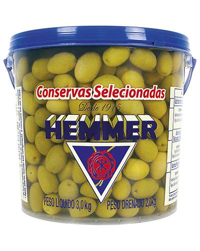 Azeitona Verde Media Com Caroço 20/24 Hemmer 2kg