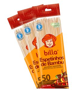 Espetinho de Bambu Billa 25cmx4mm 50 Unidades