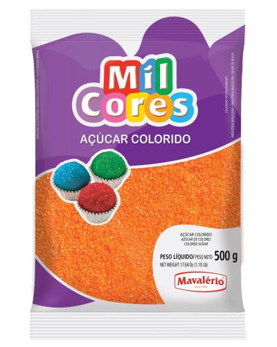 Açúcar Colorido Laranja Mil Cores Mavalerio 500g