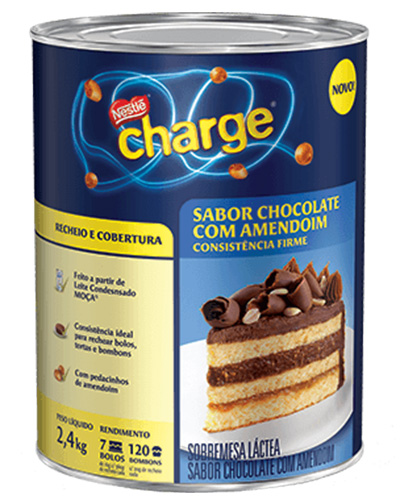 Recheio Cobertura Chocolate/Amendoim Charge Nestle 2,4kg