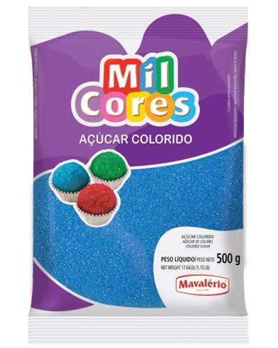Açúcar Colorido Azul Mil Cores Mavalerio 500g