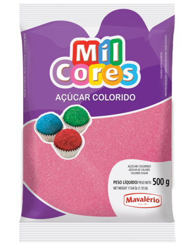 Açúcar Colorido Rosa Mil Cores Mavalerio 500g