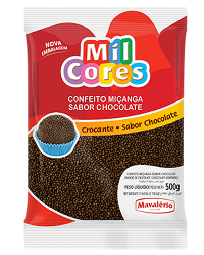 Confeito Miçanga Chocolate Mil Cores Mavalerio 500g