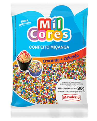 Confeito Miçanga N.0 Colorido Mil Cores Mavalerio 500g
