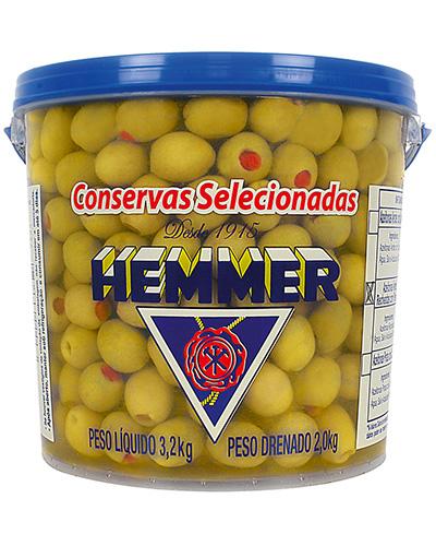 Azeitona Verde Recheada Com Pimentão Hemmer 2kg