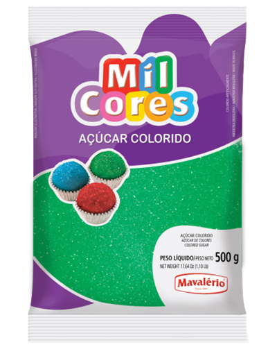 Açúcar Colorido Verde Mil Cores Mavalerio 500g