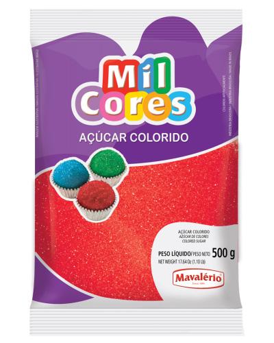 Açúcar Colorido Vermelho Mil Cores Mavalerio 500g